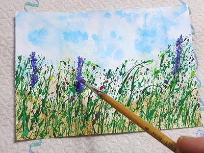 Spritztechnik für Blumenwiese