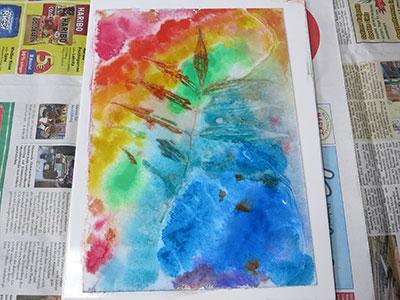 Blätter Abdruck in Wasserfarbe