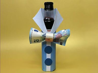 Geldgeschenk - Flasche mit Fliege