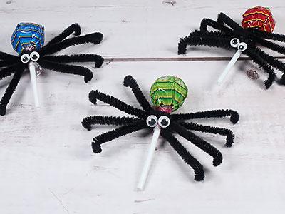Halloween Lolli Spinne basteln