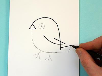 Vogel zeichnen für Kinder