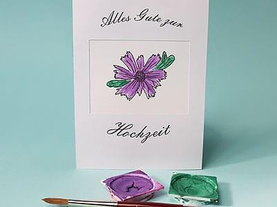 Wasserfarben Blume malen
